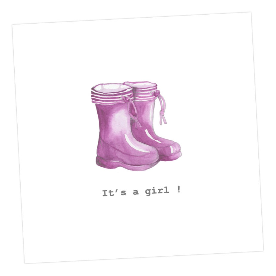It's A Girl! Wellies Card