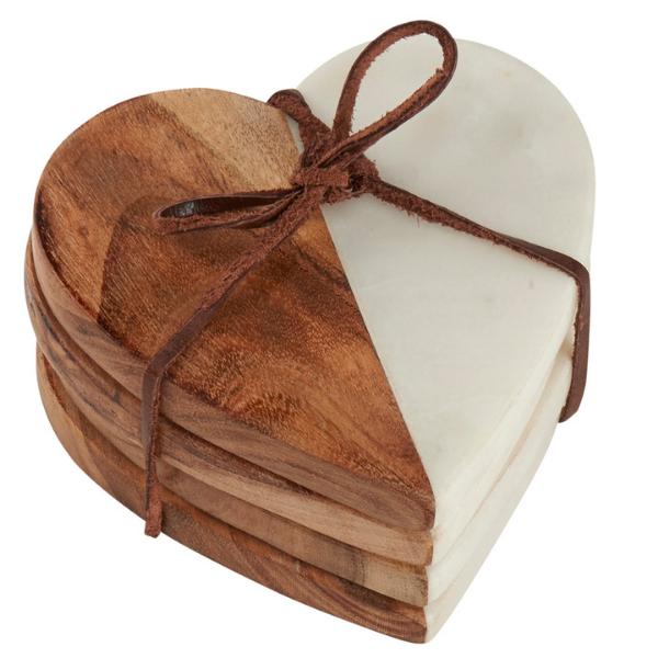 Heart Shaped Natural Wood & Marble Coaster