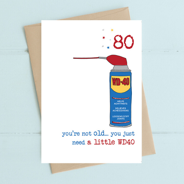 80th Birthday - Need a Little WD40 Card