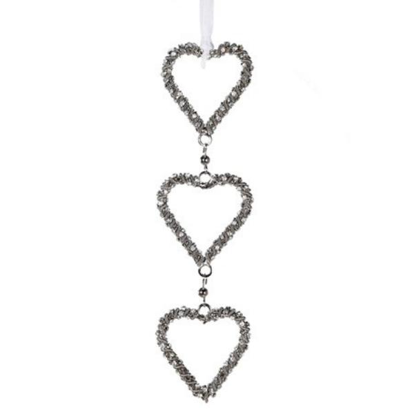 Embellished Triple Hanging Heart