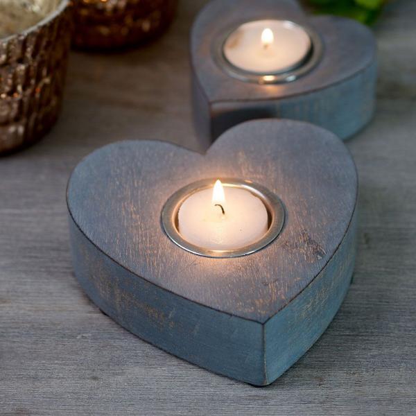 Retreat Grey Heart Tealight Holders