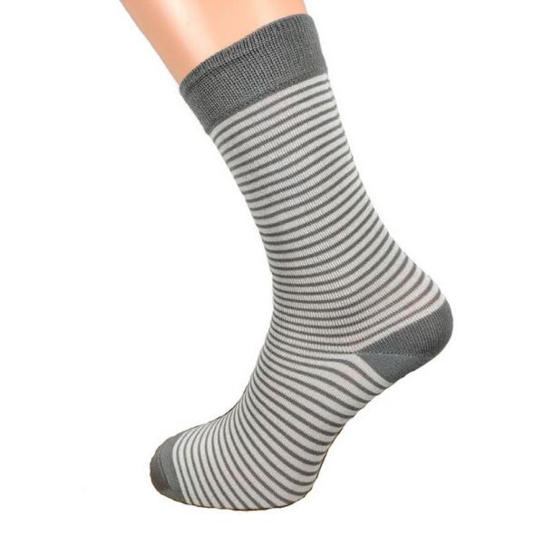 Mens Grey Striped Bamboo Socks