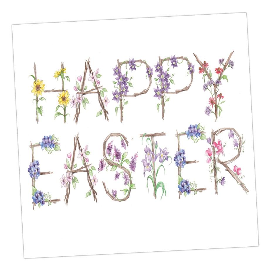 Happy Easter - Floral Lettering