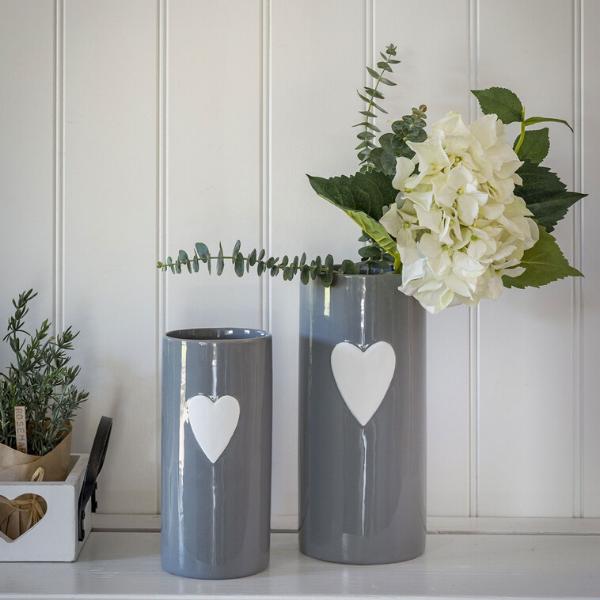 Retreat Grey Heart Ceramic Vases