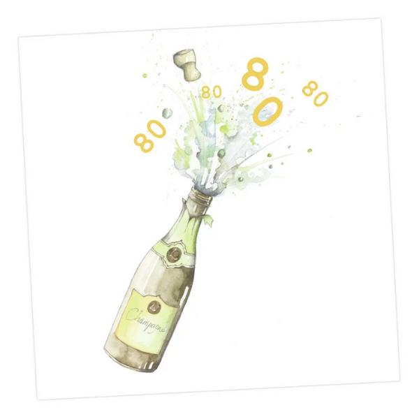 Champagne 80th Card