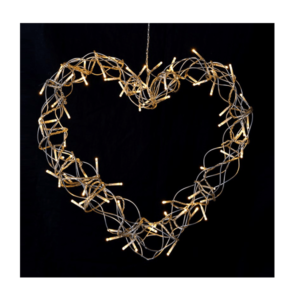 Wire Heart Wreath (LED Lights)