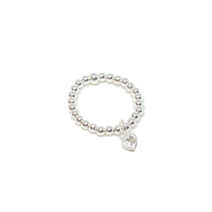 Alexa Embellished Heart Ring Silver