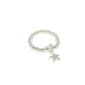 Beaded Star Ring Silver